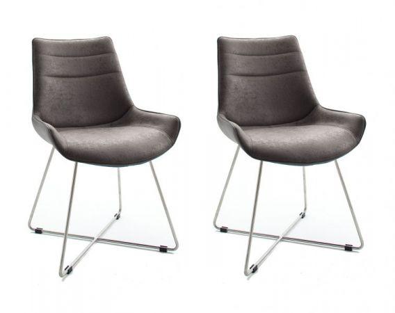 2 x Stuhl Danita in Grau Vintage Kunstleder und Edelstahl X-Kufen Gestell Esszimmerstuhl 2er Set Schalenstuhl