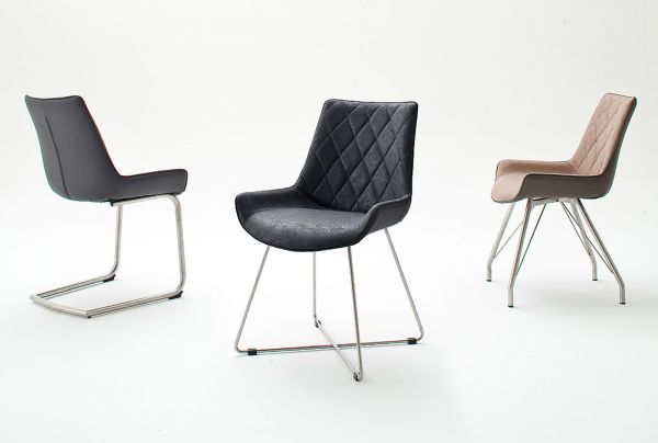 2 x Stuhl Danita in Anthrazit Vintage Kunstleder und Edelstahl Freischwinger Esszimmerstuhl 2er Set Schalenstuhl