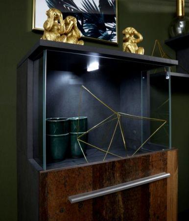 Wohnwand Punch in Old Used Wood Shabby Design mit Matera grau Schrankwand 4-teilig 228 x 183 cm