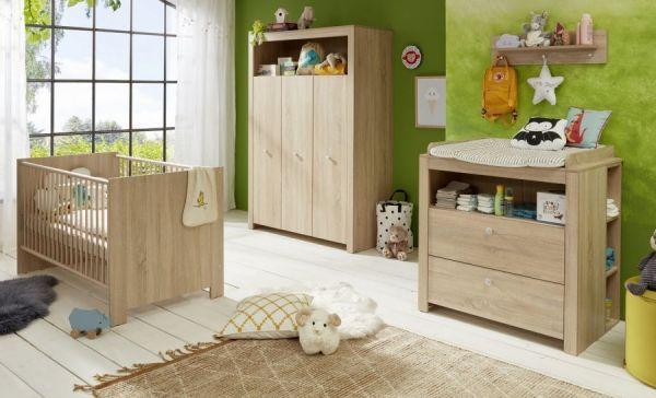 Baby- und Kinderzimmer Kleiderschrank Olivia in Sonoma Eiche hell sägerau 3-türig 130 x 186 cm