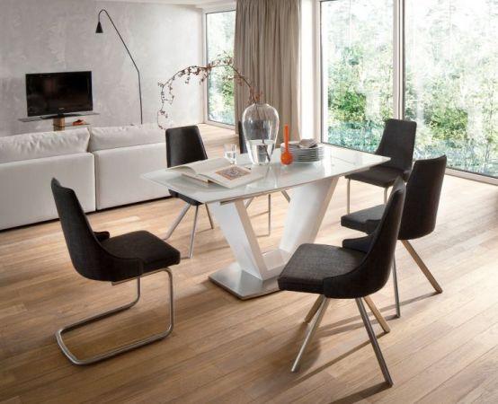 2 x Stuhl Elara in Grau Feingewebe und Edelstahl Freischwinger Rundrohr Esszimmerstuhl 2er Set
