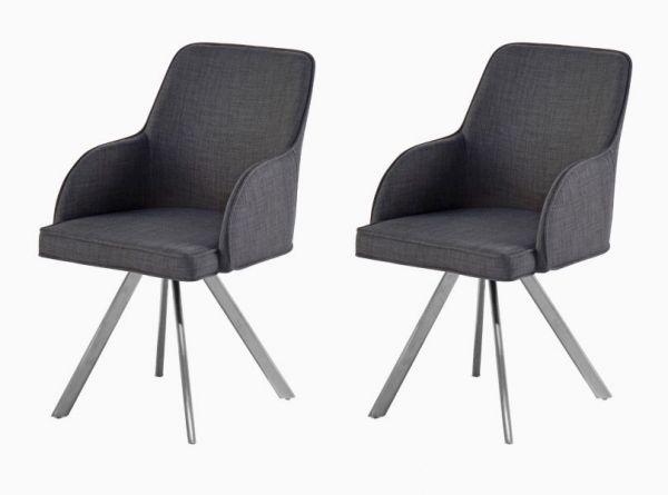 2 x Stuhl Elara in Grau Feingewebe und Edelstahl 4-Fuß drehbar Ovalrohr Esszimmerstuhl 2er Set mit Armlehne