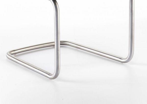 2 x Stuhl Elara in Grau Feingewebe und Edelstahl Freischwinger Rundrohr Esszimmerstuhl 2er Set mit Armlehne