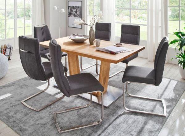 2 x Stuhl Giulia in Anthrazit Feingewebe und Edelstahl Freischwinger mit Griffleiste Flachrohr Esszimmerstuhl 2er Set