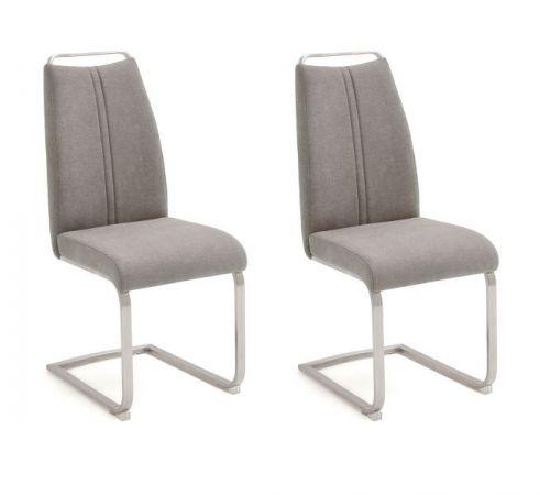 2 x Stuhl Giulia in Eisgrau Feingewebe und Edelstahl Freischwinger mit Griffleiste Flachrohr Esszimmerstuhl 2er Set