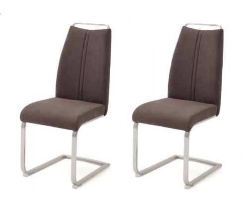 2 x Stuhl Giulia in Braun Leder und Edelstahl Freischwinger mit Griffleiste Flachrohr Esszimmerstuhl 2er Set
