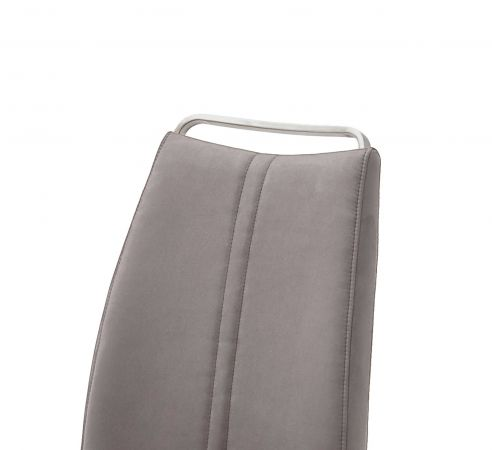 2 x Stuhl Giulia in Eisgrau Leder und Edelstahl Freischwinger mit Griffleiste Flachrohr Esszimmerstuhl 2er Set