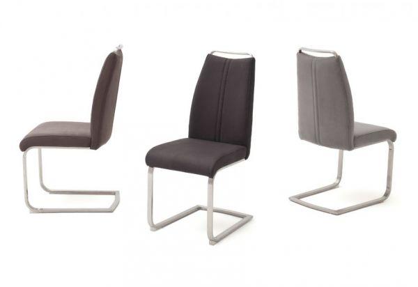 2 x Stuhl Giulia in Anthrazit Nubuklederoptik und Edelstahl Freischwinger mit Griffleiste Flachrohr Esszimmerstuhl 2er Set