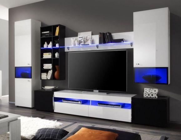 Wohnwand Schrankwand Mediawand Delta weiß und schwarz Hochglanz Breite 315 cm