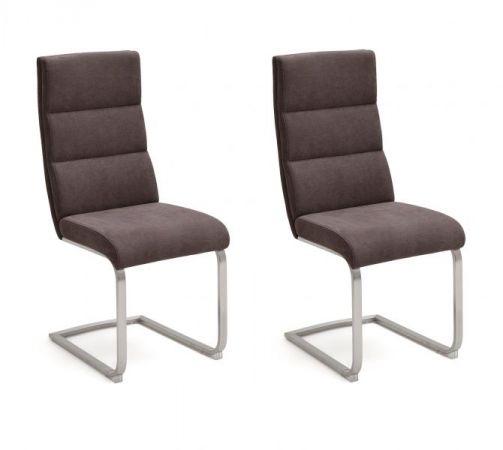 2 x Stuhl Giulia in Braun Feingewebe und Edelstahl Freischwinger mit Griff hinten Flachrohr Esszimmerstuhl 2er Set