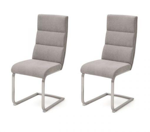 2 x Stuhl Giulia in Eisgrau Feingewebe und Edelstahl Freischwinger mit Griff hinten Flachrohr Esszimmerstuhl 2er Set