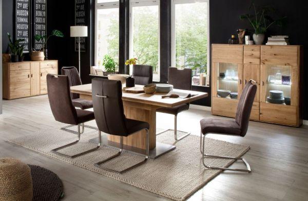 2 x Stuhl Giulia in Braun Leder und Edelstahl Freischwinger mit Griff hinten Flachrohr Esszimmerstuhl 2er Set
