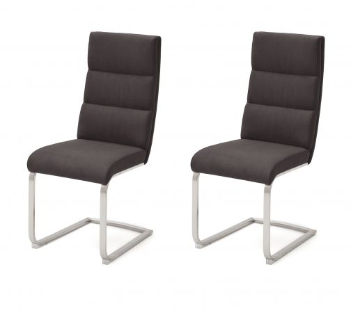 2 x Stuhl Giulia in Anthrazit Nubuklederoptik und Edelstahl Freischwinger mit Griff hinten Flachrohr Esszimmerstuhl 2er Set