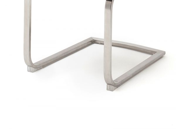 2 x Stuhl Giulia in Eisgrau Nubuklederoptik und Edelstahl Freischwinger mit Griff hinten Flachrohr Esszimmerstuhl 2er Set