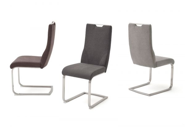 2 x Stuhl Giulia in Anthrazit Feingewebe und Edelstahl Freischwinger mit Griffloch Flachrohr Esszimmerstuhl 2er Set