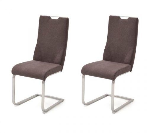 2 x Stuhl Giulia in Braun Feingewebe und Edelstahl Freischwinger mit Griffloch Flachrohr Esszimmerstuhl 2er Set