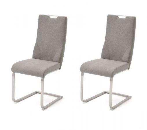 2 x Stuhl Giulia in Eisgrau Feingewebe und Edelstahl Freischwinger mit Griffloch Flachrohr Esszimmerstuhl 2er Set