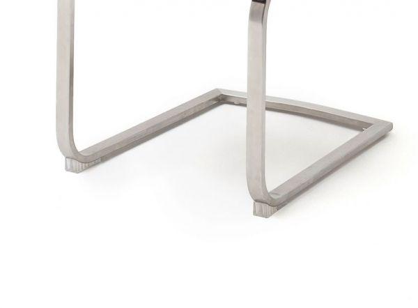 2 x Stuhl Giulia in Braun Leder und Edelstahl Freischwinger mit Griffloch Flachrohr Esszimmerstuhl 2er Set