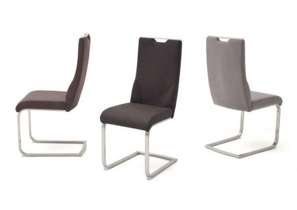 2 x Stuhl Giulia in Eisgrau Leder und Edelstahl Freischwinger mit Griffloch Flachrohr Esszimmerstuhl 2er Set
