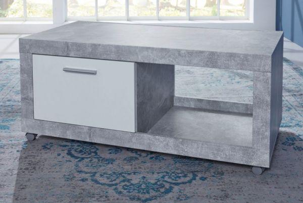 Couchtisch auf Rollen in Stone Design grau und weiß Wohnzimmertisch 110 x 59 cm mit Klappe und Ablage