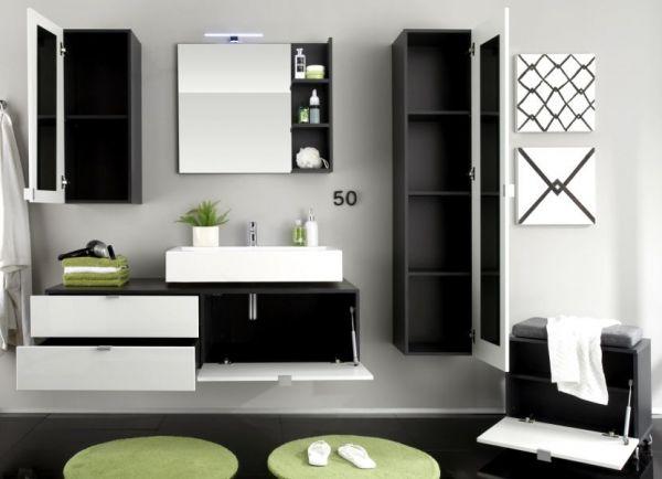 """Badezimmer: Hängeschrank """"Beach"""" Hochglanz weiß, grau (35x157 cm) mit Spiegel innen"""