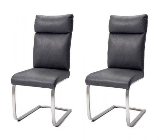2 x Stuhl Rabea in Grau Vintage Lederlook und Edelstahl Freischwinger mit Griff hinten Esszimmerstuhl 2er Set