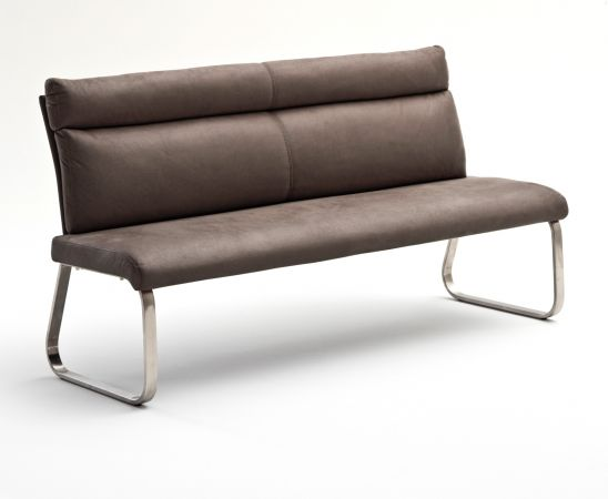 Sitzbank Rabea in Braun Vintage Lederlook und Edelstahl Flachrohr Küchenbank mit Kufengestell Polsterbank 160 cm