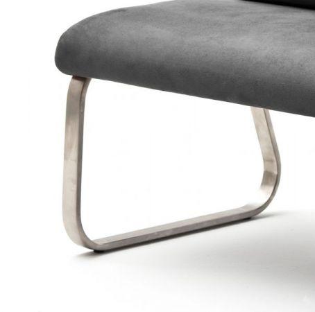 Sitzbank Rabea in Grau Vintage Lederlook und Edelstahl Flachrohr Küchenbank mit Kufengestell Polsterbank 160 cm