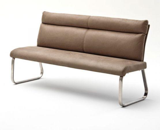 Sitzbank Rabea in Sand Vintage Lederlook und Edelstahl Flachrohr Küchenbank mit Kufengestell Polsterbank 160 cm