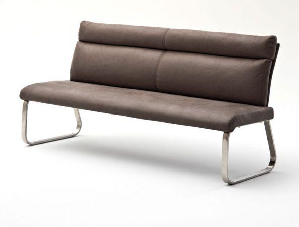 Sitzbank Rabea in Braun Vintage Lederlook und Edelstahl Flachrohr Küchenbank mit Kufengestell Polsterbank 180 cm