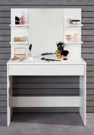 Schminktisch Basix in weiß mit Schubkasten und Spiegel Schminkkommode 85 x 140 cm Kommode