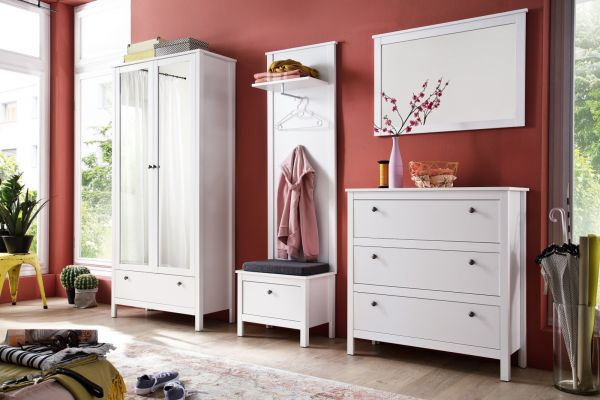 Garderobenset 3-teilig weiß Garderobenkombination Ole mit Schuhbank und Kommode 160 cm