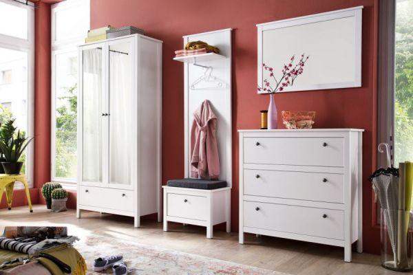 Garderobenset 4-teilig weiß Garderobenkombination Ole mit Schuhbank und Schrank 268 cm