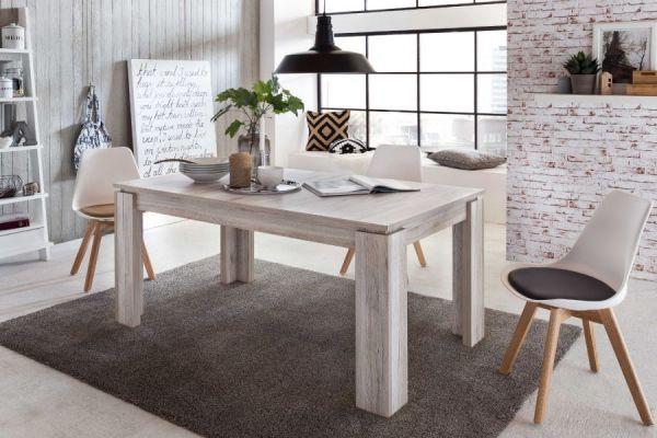 Esstisch in Eiche Sand ausziehbar mit Einlegeplatte Küchentisch Holztisch 160 / 200 cm