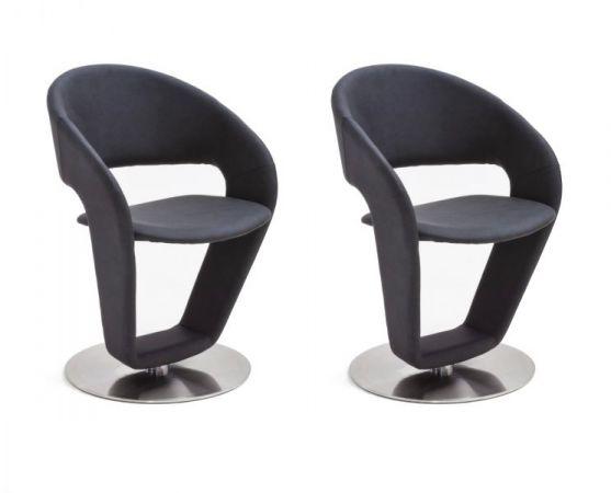 2 x Stuhl Firona in Anthrazit Kunstleder und Edelstahl Tellerfuß 360° drehbar Esszimmerstuhl 2er Set Drehstuhl