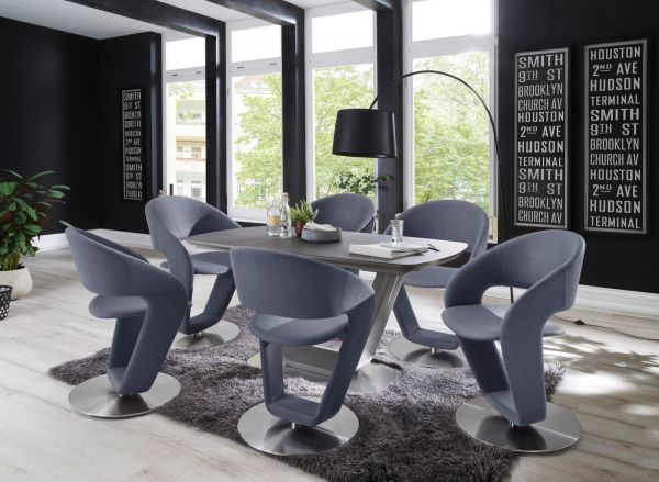 2 x Stuhl Firona in Graublau Kunstleder und Edelstahl Tellerfuß 360° drehbar Esszimmerstuhl 2er Set Drehstuhl