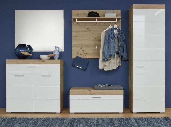 Garderobenset 5-teilig Amanda in Hochglanz weiß und Eiche Asteiche Garderobenkombination 257 x 195 cm Flur