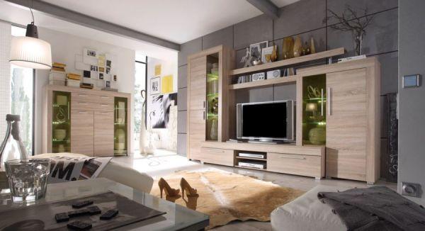 """Wohnzimmer: Couchtisch """"Boom"""" Sonoma Eiche hell, sägerau (110 x 65 cm) mit Ablage"""