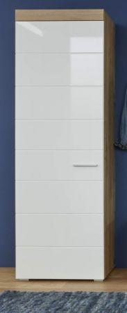 Schuhschrank Amanda Hochglanz weiß und Asteiche Mehrzweckschrank 55 x 195 cm