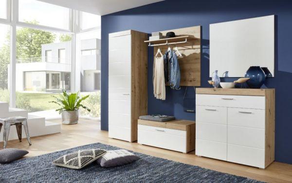 Garderobe Sitzbank Amanda in weiß Hochglanz und Eiche 91 x 42 cm