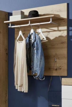 Garderobenpaneel Amanda Hochglanz weiß und Eiche 91 x 96 cm