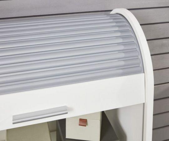 Rolladenschrank Basix in weiß und grau Mehrzweckschrank 70 x 94 cm Kommode abschließbar stapelbar drehbar