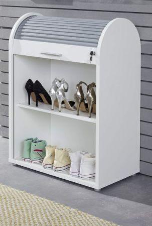 """Schuhschrank """"Basix"""" in weiß und grau 70 x 94 cm abschließbar, stapelbar und drehbar"""