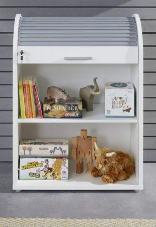 Kinder-und Jugendzimmer Rolladenschrank Basix in weiß und grau 70 x 94 cm Kommode abschließbar stapelbar drehbar