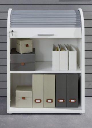 """Büroschrank """"Basix"""" in weiß und grau 70 x 94 cm abschließbar, stapelbar und drehbar"""