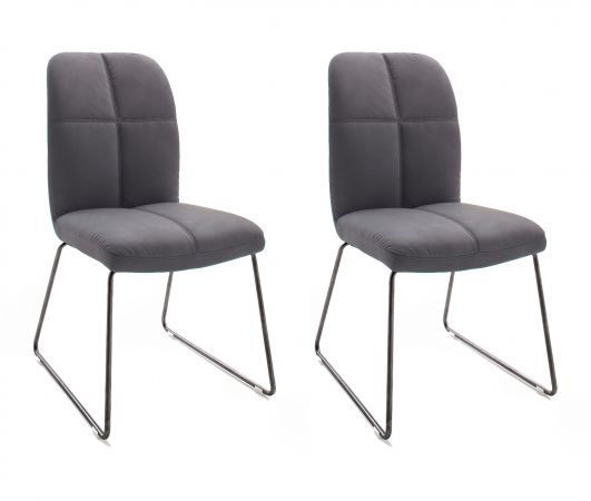 2 x Stuhl Tessera in Grau Kunstleder und Kufengestell Anthrazit lackiert Esszimmerstuhl 2er Set