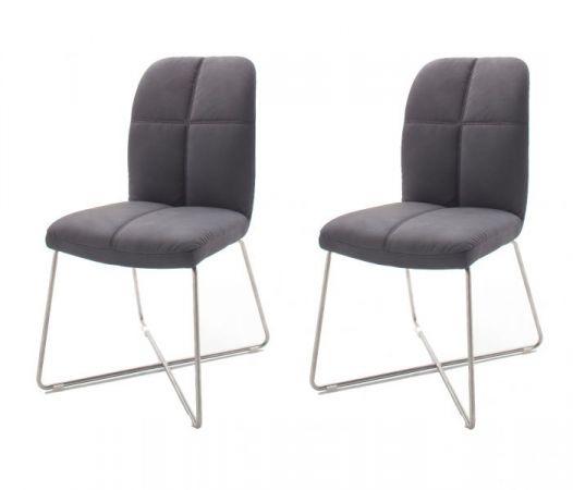 2 x Stuhl Tessera in Grau Kunstleder und X-Kufen Gestell Edelstahl Esszimmerstuhl 2er Set