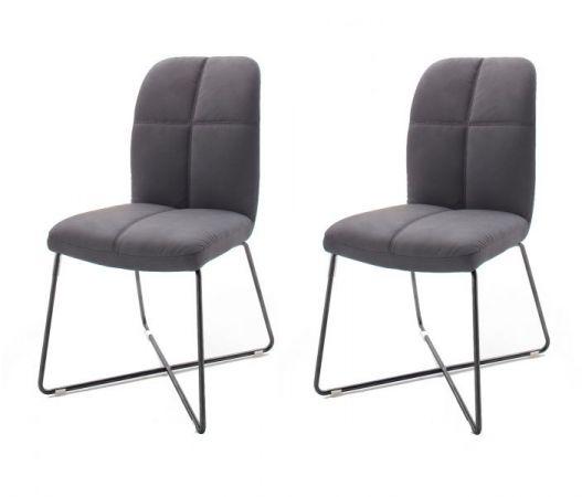 2 x Stuhl Tessera in Grau Kunstleder und X-Kufen Gestell Anthrazit lackiert Esszimmerstuhl 2er Set