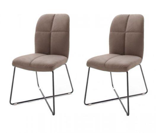 2 x Stuhl Tessera in Schlamm Kunstleder und X-Kufen Gestell Anthrazit lackiert Esszimmerstuhl 2er Set