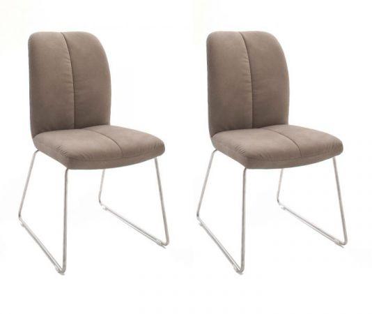 2 x Stuhl Tessera in Schlamm Kunstleder und Kufengestell Edelstahl Esszimmerstuhl 2er Set